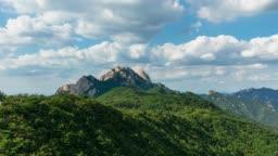 Bukhansan National Park, Sam-Kak Mt Sword-Rock.Kalbawi Park Ranger Post mountain in Seoul  South Korea