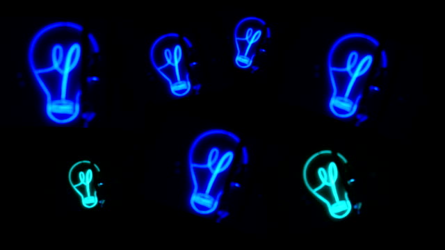 bulb, light, blue neon - neon stock videos & royalty-free footage