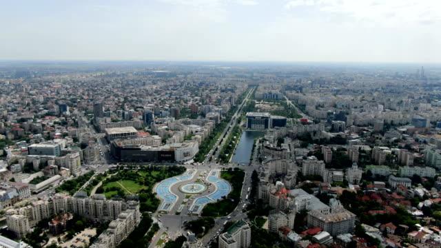 bulevardul unirii, bucharest / aerial view - vlad the impaler stock videos & royalty-free footage