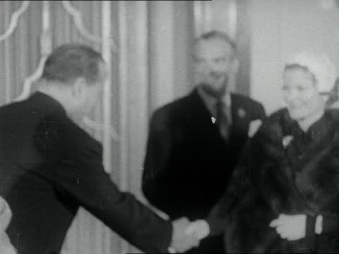 bulganin and khrushchev visit to england: seventh day; england: london: no 10 downing street: ext nikolai bulganin and nikita khrushchev out of no... - 出来事の発生点の映像素材/bロール