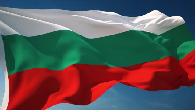 4 k のブルガリアの国旗 - 単発 - 旗棒点の映像素材/bロール