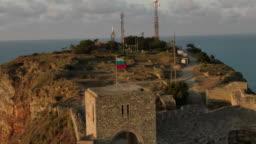 Bulgarian flag on fortress on cape Kaliakra