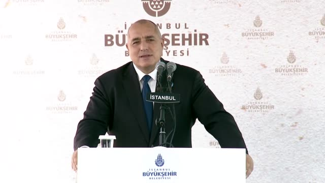 Bulgarian Prime Minister Boyko Borisov delivers a speech during the inauguration ceremony of the Bulgarian St Stephen Church in Istanbul Turkey on...
