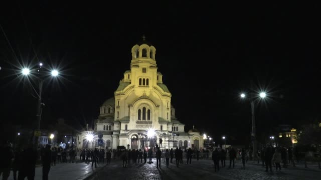 bulgarians celebrate orthodox christian easter at an open air service outside the alexander nevski cathedral in downtown sofia, led by patriarch... - easter stock videos & royalty-free footage