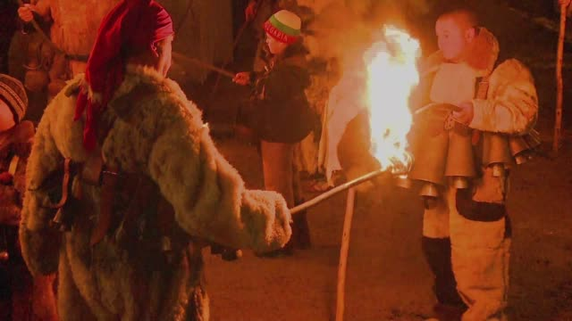 bulgaria's surva folk feast a masquerade ritual dating back to pagan times is held in dozens of villages in the western pernik region on 13 and 14... - paganism stock videos and b-roll footage