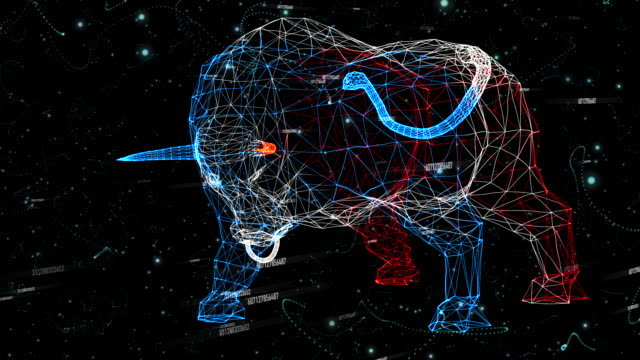 bull generated from particles - with numbers - segni zodiacali video stock e b–roll