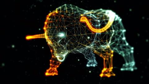 stockvideo's en b-roll-footage met bull gegenereerd op basis van deeltjes - zonder nummers - stier mannetjesdier
