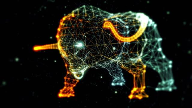 vidéos et rushes de bull, généré à partir des particules - sans numéros - taureau
