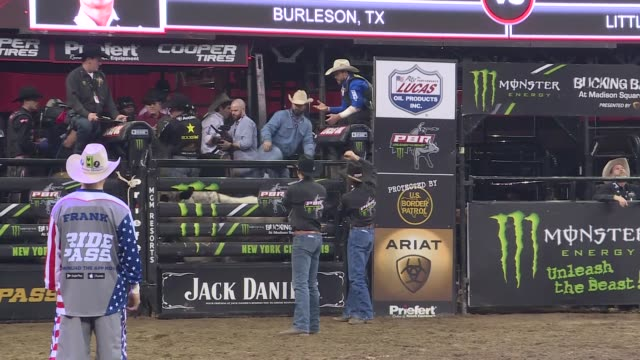 bull riders compete during the pbr unleash the beast bull riding event at madison square garden in new york, ny on january 05, 2019. - rodeo stock videos & royalty-free footage