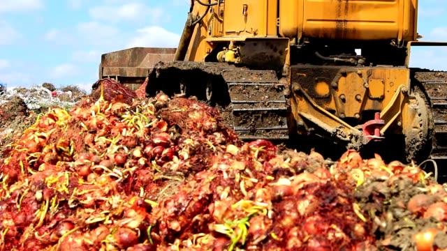 Bulldozer aligns soil at the dump