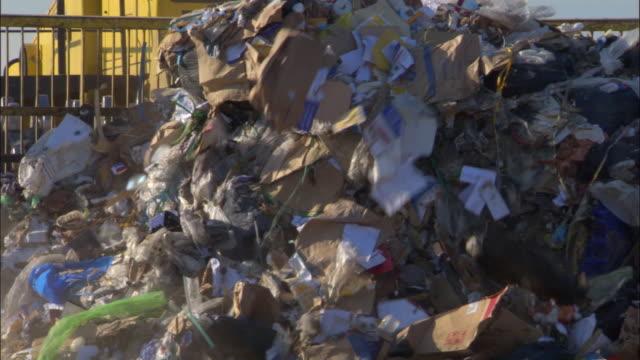cu, zo, ms, bulldozer on landfill site, ardley, oxfordshire, united kingdom - 埋め立てごみ処理地点の映像素材/bロール