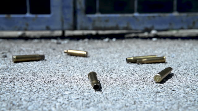 bullet casings on asphalt - cartridge stock videos and b-roll footage
