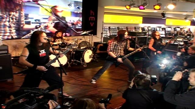 Bullet for My Valentine performance Bullet For My Valentine perform live on stage in front of audience in HMV Oxford Street SOT