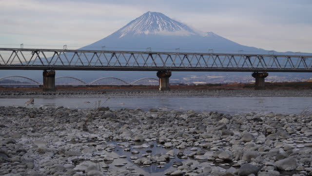 bullet train crossing the bridge with mt. fuji in the background - railway bridge stock videos & royalty-free footage