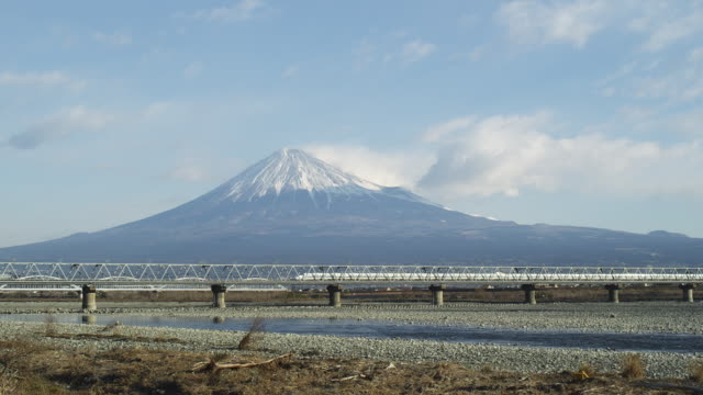 bullet train in front of mt. fuji in japan - riverbed stock videos & royalty-free footage