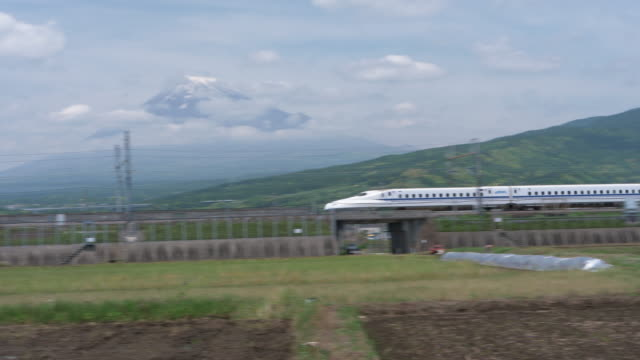bullet train passing by mt. fuji - high speed train stock videos & royalty-free footage