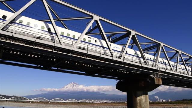 a bullet train passing by mt. fuji - shinkansen stock videos & royalty-free footage