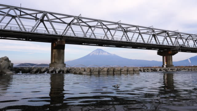 a bullet train passing by mt. fuji - mt fuji stock videos & royalty-free footage