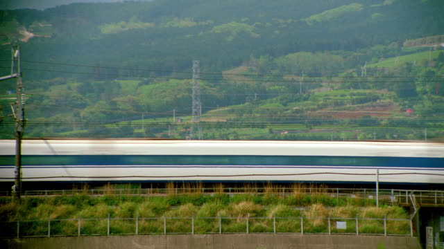 Bullet train passing camera in countryside / Japan