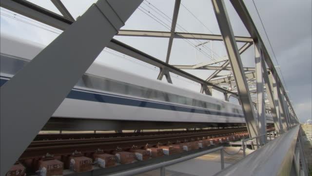 ms bullet train shinkansen crossing bridge / yamanashi prefecture, japan - shinkansen stock videos & royalty-free footage