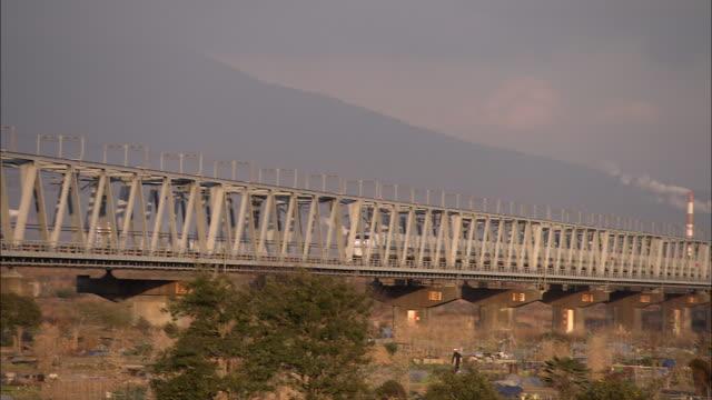 vídeos y material grabado en eventos de stock de a bullet train travels over a bridge on a cloudy day. - meteorología