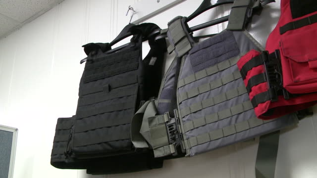 WGN Bulletproof Vests Hung on a Wall at Aspetto Inc store in Frederiscksburg Virginia on February 7 2018