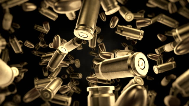 bullets falling animation (slow motion) - ammunition stock videos & royalty-free footage