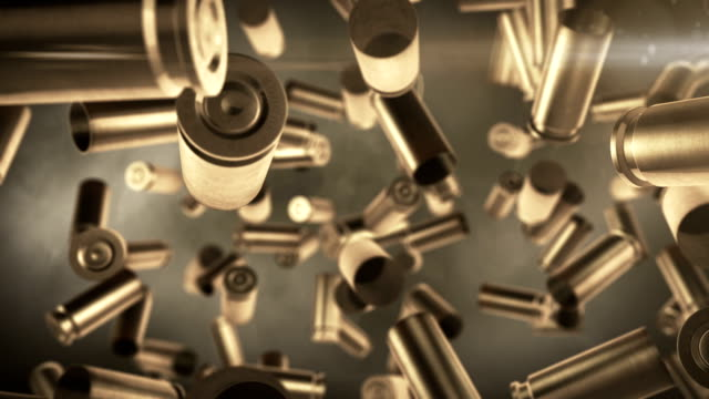 bullets falling. high quality animation of bullets falling. slow motion - sleeve stock videos and b-roll footage