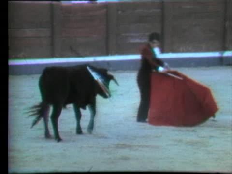 vídeos y material grabado en eventos de stock de bullfighter rosalia de columbia challenges a bull in spain. - sport