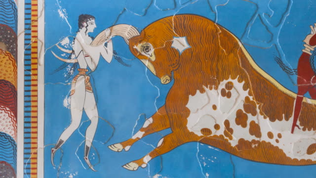 Bull-leaping fresco in Knossos palace, Crete Island, Greece