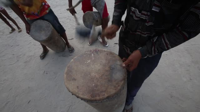 vídeos de stock, filmes e b-roll de bumba meu boi is a festival celebrating a bull and originally comes from africa the percussion is very african and the dancers imitate a bull the... - representação de animal