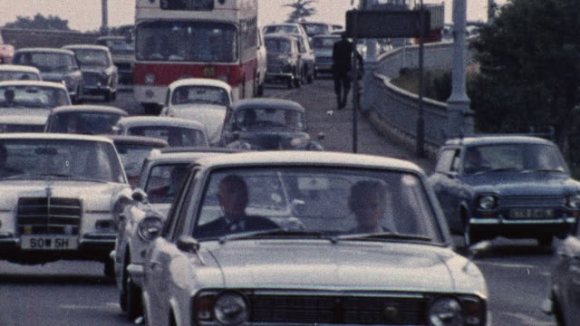 1974 zo bumper-to-bumper traffic on busy roads / southampton, hampshire, england - southampton england stock videos & royalty-free footage
