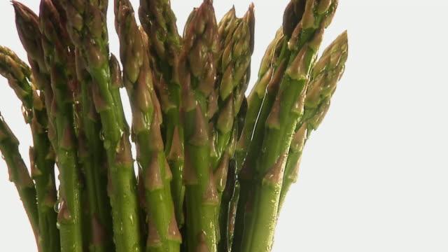 vidéos et rushes de cu, zi, bunch of asparagus with water droplets rotating - groupe moyen d'objets