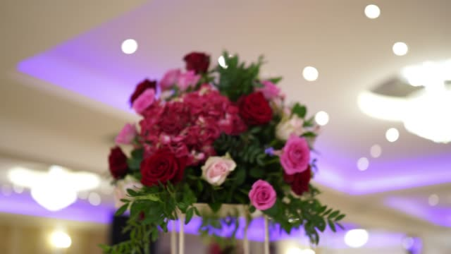 bunch of flower on stand arranged for an event - place setting stock videos & royalty-free footage