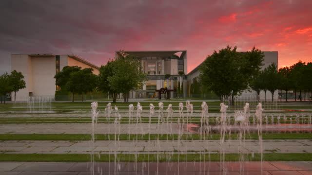 Bundeskanzleramt Berlin with Sunset and Fountain