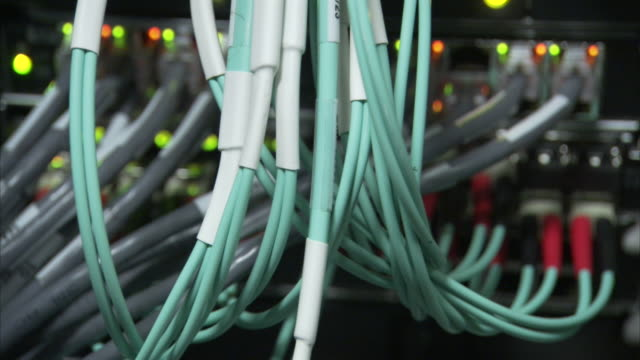 bundles of green and grey computer cables attach to a server with blinking lights. - network server stock videos & royalty-free footage