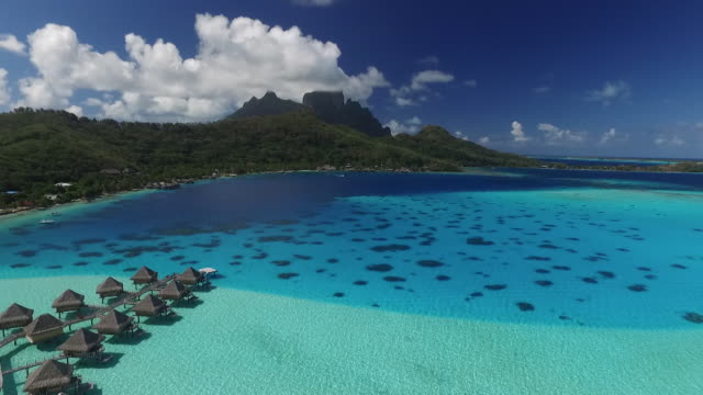bungalows sur le lagon de bora-bora - lagoon stock videos and b-roll footage