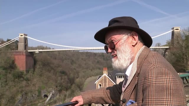 bungee jumping turns 40 years old england bristol clifton suspension bridge ext david kirke chatting to reporter back view of kirke and reporter... - clifton suspension bridge stock videos and b-roll footage