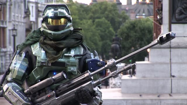 bungie promote their latest episode of the multimillion selling video game franchise halo titled halo launch halo reach launch at trafalgar square on... - franchising stock videos and b-roll footage