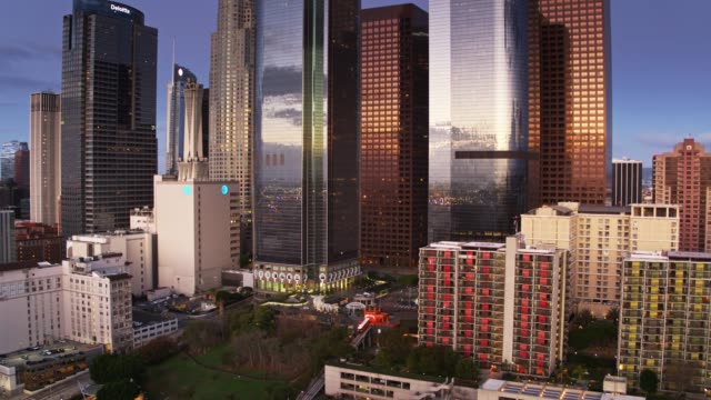 Bunker Hill, Los Angeles at Sunrise - Aerial Establisher