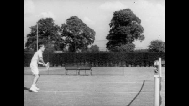 HW Bunny Austin practicing at the All England lawn Tennis and Croquet Club in Wimbledon South East London circa 1935