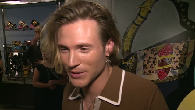 Burberry men's collection event Dougie Poynter interview SOT The quiet one in the band modelling is perfect for him Will he be watching the Euros no...