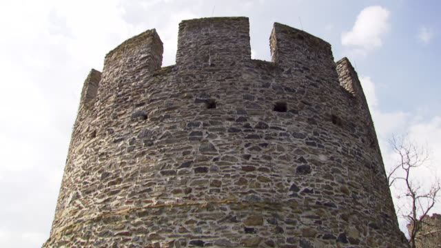 burg hartenstein - a tower at the burg hartestein castle in lower austria - traditionally austrian stock videos and b-roll footage