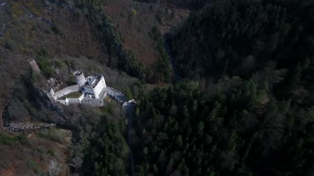 burg hartenstein - burg hartenstein castle in lower austria from above 03 - lower austria stock videos and b-roll footage