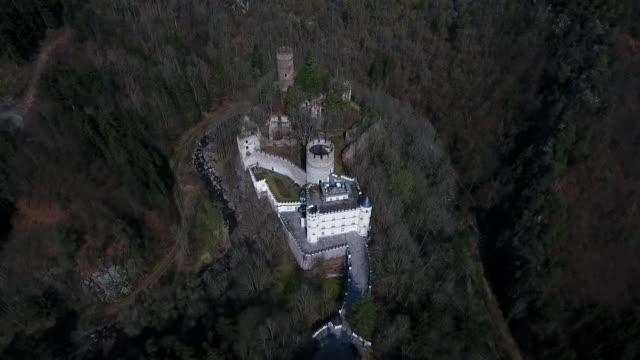 stockvideo's en b-roll-footage met burg hartenstein - moving away from burg hartenstein castle in lower austria 02 - lower austria