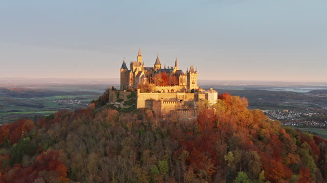 burg hohenzollern sunrise drone flight in autumn hohenzollern castle germany 4k - fortress stock videos & royalty-free footage