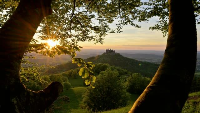 burg hohenzollern, view from mount zeller horn, swabian alb, swabian jura, bisingen, baden-württemberg, germany - castle stock videos & royalty-free footage