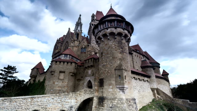 burg kreuzenstein; time lapse - castle stock videos & royalty-free footage