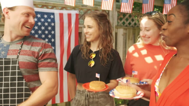 burger line up at 4th july bbq - fourth of july stock videos & royalty-free footage