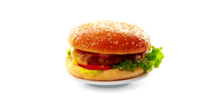 burger on white background - cheeseburger stock videos & royalty-free footage